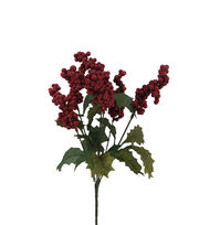 Blooming Holiday Christmas 15'' Holly Leaves & Glitter Berry Spray-Red, , hi-res