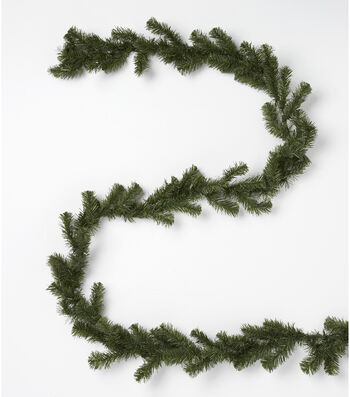 Blooming Holiday Christmas 9' PVC Canadian Pine Garland-Aqua
