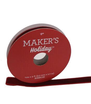 Maker's Holiday Christmas Velvet Ribbon 3/8''x9'-Burgundy
