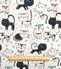 Doodles Juvenile Apparel Fabric-Scrappy Cat Interlock