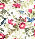 Snuggle Flannel Fabric 42\u0027\u0027-Birds in Flowers