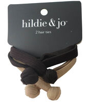 hildie & jo 2 Pack Hair Ties-Brown & Tan, , hi-res