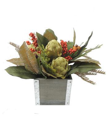 "Blooming Autumn 13"" Artichoke Arrangement-Brown/Green"