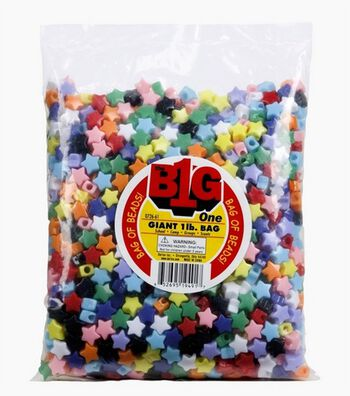 Giant 1Lb Multi Color Pony Beads-Stars