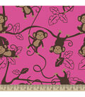 Anti-Pill Fleece Fabric Monkey Around Pink