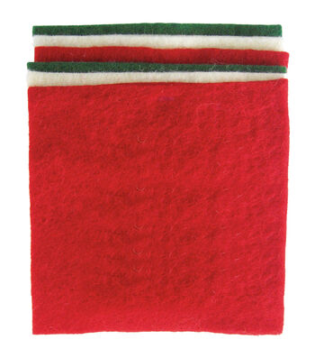 Dimensions Feltworks Red, Green & White Felt Square Bundle