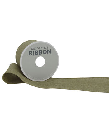 "Decorative Ribbon 2.5"" Solid Linen Ribbon-Natural"