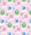 Snuggle Flannel Fabric 42\u0027\u0027-Sheepies on Pink