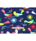 Anti-Pill Fleece Fabric 59\u0022-Boho Bird On Navy