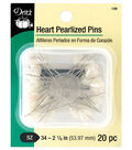Dritz 20 Pack Heart Pearlized Pins-White