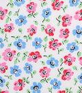 1930\u0027s Cotton Fabric 43\u0022-Painted Florals White