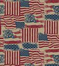 Holiday Inspirations Patriotic Fabric- Burlap Rustic Flags