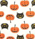 Doodles Halloween Interlock Cotton Fabric 57\u0022-Cats & Pumpkins