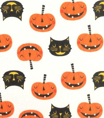 "Doodles Halloween Interlock Cotton Fabric 57""-Cats & Pumpkins"
