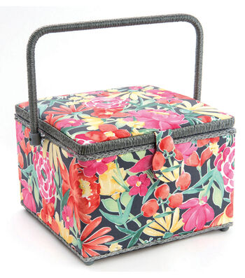 Large Square Sewing Basket-Gray Floral
