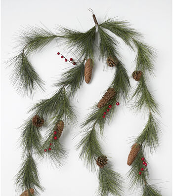 Blooming Holiday Christmas 66'' Pinecone & Berry Garland-Red