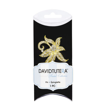 David Tutera™ Bridal Collection Golden Floral Petals with Rhinestones Pin
