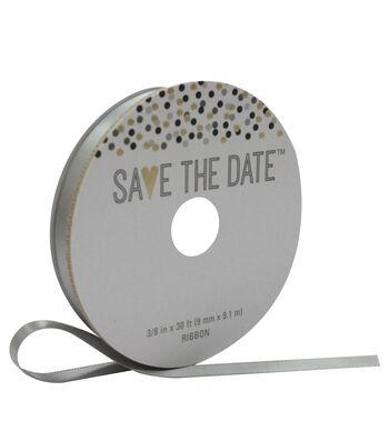 Save the Date 3/8'' X 30' Ribbon-Gray Satin