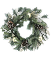 Blooming Holiday 22'' Laurel Leaves, Pine, Bauble, Pinecone Wreath-Green, , hi-res