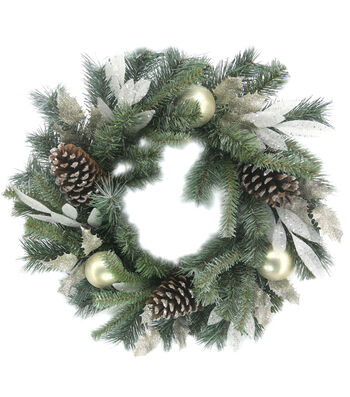 "Blooming Holiday 22"" Laurel Leaves Pine Wreath-Bauble Pinecone"