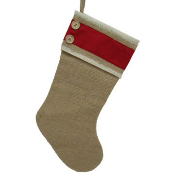 Maker's Holiday Christmas Burlap Stocking with Buttons