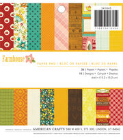 American Crafts™ 36 Pack 6''x6'' Paper Pad-Farmhouse, , hi-res