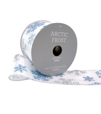 Maker's Holiday Arctic Frost Ribbon 2.5''X25'-Blue & Silver Snowflake