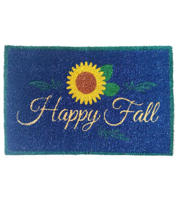 Fall Into Color 18''x30'' Coir Mat-Happy Fall on Blue