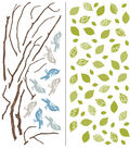 Wall Pops Sitting on a Branch Wall Art Decal Kit, 93 Piece Set