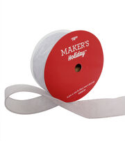 "Maker's Holiday Christmas Value Ribbon 2.5""x100'-Silver Glitter on White, , hi-res"