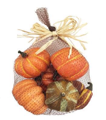 Blooming Autumn Large Pumpkins In Mesh Bag
