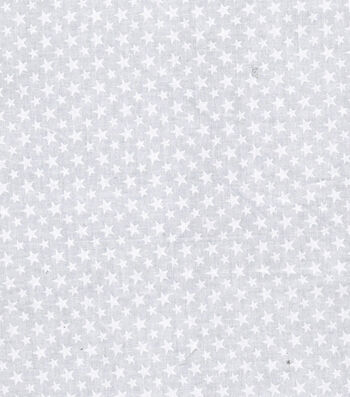 Patriotic Cotton Fabric 43''-White Stars on Gray