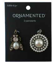 hildie & jo™ Ornamented Bug & Circle Pendant-Pearls & Crystals, , hi-res