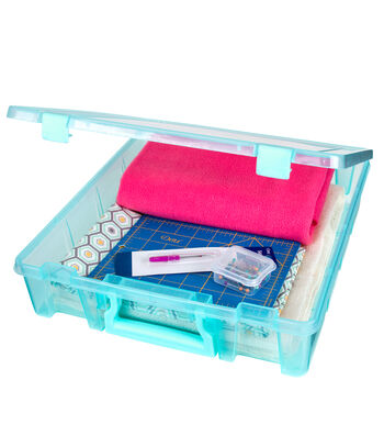 Organizing Essentials™ Super Satchel Double Deep Box-Aqua Mist
