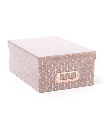 DCWV Photo Storage Box-Rose Gold Foil Geometric on Gray