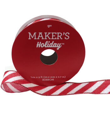 Maker's Holiday Christmas Twill Ribbon 7/8''x9'-Red & White
