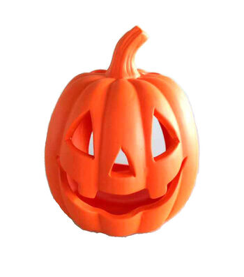 Maker's Halloween Small Stoneware Pumpkin Tealight Holder-Orange