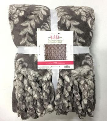 """Wild Blooms Fleece Blanket 50x70""""-Gray"""