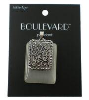 hildie & jo™ Boulevard Rectangular Antique Silver Pendant, , hi-res
