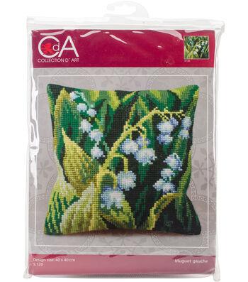 Collection D'Art Stamped Needlepoint Cushion Kit 40X40cm-Muguet Gauche