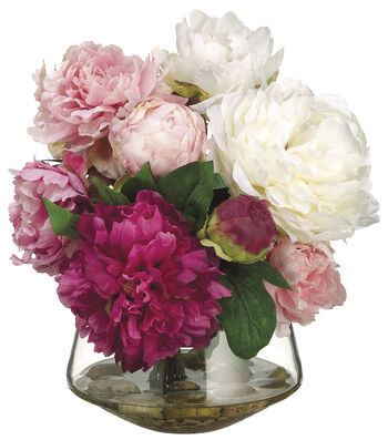 Bloom Room Luxe 12'' Peony In Glass Vase-Pink