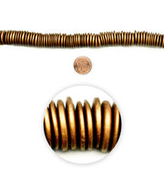 "Blue Moon Beads 7"" Strand Wood Disc, Gold, , hi-res"