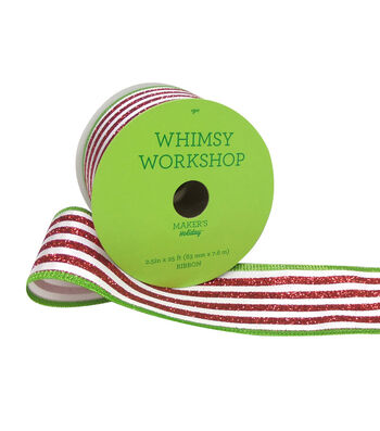 Maker's Holiday Whimsy Workshop Ribbon 2.5''x25'-Red & White Stripe