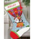 Santa\u0027s Balloon Ride Stocking Needlepoint Kit 16\u0022 Long Stitched In Yarn