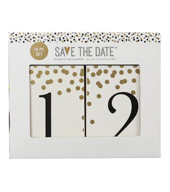 Save The Date Pack of 10 4''x3'' Wood Table Numbers-Gold Dot