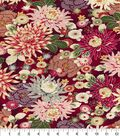 Asian Inspired Cotton Fabric 44\u0022-Packed Floral Red Met