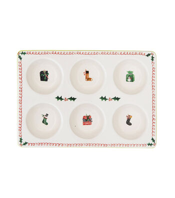 3R Studios Christmas Stoneware Muffin Pan with Holiday Images