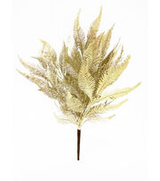 Blooming Holiday Christmas 16'' Glitter Leaves Spray-Champagne, , hi-res