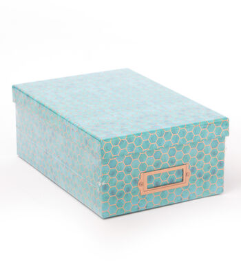 DCWV Photo Storage Box-Copper Foil Hexagons on Blue