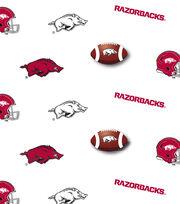 "University of Arkansas Razorbacks Cotton Fabric 44""-White All Over, , hi-res"